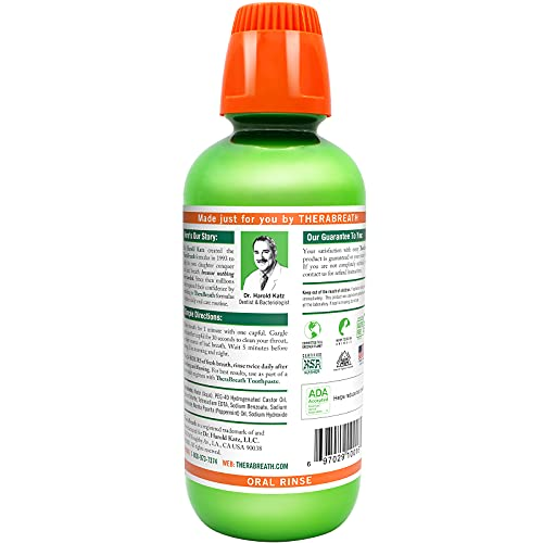 TheraBreath Fresh Breath Dentist Formulated 24-Hour Oral Rinse, Mild Mint, 16 Ounce (Pack of 2)