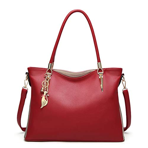Hand Bag for Women Large Capacity Simple All-purpose Fashion Soft Leather Shoulder Bag Totes (Wine)