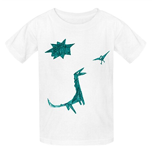 Dinosaur Green Child Crew Neck Short Sleeve Tees White