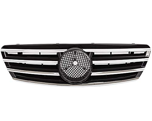 KARPAL Front Chrome Bumper Upper Grille Compatible With Mercedes Benz W203 C-Class Sedan AMG Style