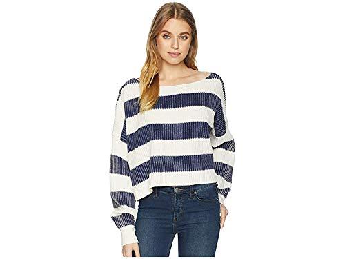 Free People Women's Just My Stripe Pullover, Navy, Medium