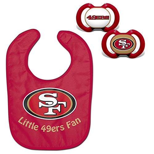 (Official NFL Fan Shop Authentic Baby Pacifier and Bib Bundle Set. Start Out Early in Joining The Fan Club and Show Support for Your Favorite Football Team (San Francisco 49ers))