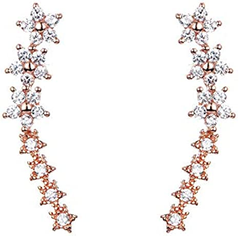 gold diamond ear crawler minimal gold earrings Herkimer diamond ear climber