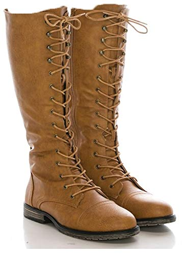 Boots Lace Military (CALICO KIKI Women's Knee High Combat Boots - Faux Leather Military Boots with Side Zipper & Lace up (10 US Tan PU))