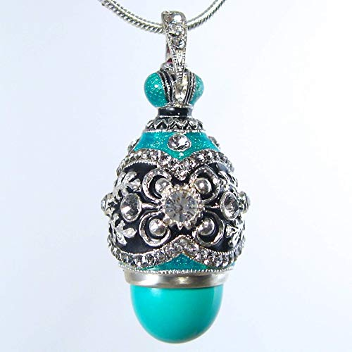 (TURQUOISE CROWN SILVER NECKLACE Russian Faberge Style Egg Pendant, 925 Sterling, Swarovski Crystal, Enamel, Garnet, Gift for Her Jewelry for Woman Girls)