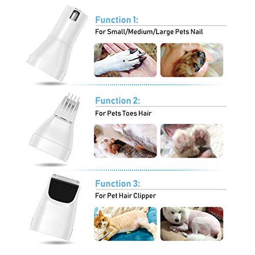 Dog Nail Grinder, Claw Care Trimmers Pet Nail Trimmer Clippers, 3 in 1 USB Rechargeable, Low Noise Electric Pet Hair Trimmer, Electric Pet Hair Trimmer for Grooming for Large Small Medium Dogs & Cats