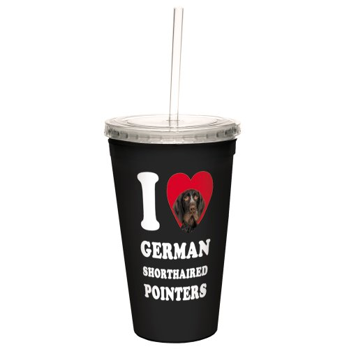 Tree-Free Greetings CC35058 I Heart German Shorthaired Pointers Artful Traveler Double-Walled Cool Cup with Reusable Straw, 16-Ounce, Brown Close-Up