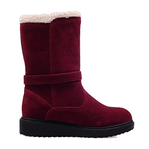 top AllhqFashion Low Womens low Pull Solid Frosted Boots on heels Claret wXrrpdqIx