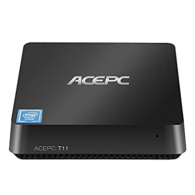 Mini PC Intel Cherry Trail Fanless Desktop Computer Windows 10 Pro (64 bit) [4GB DDR/32GB EMMC/Intel Atom x5-Z8350/Expansion Bay for SATA 2.5-Inch Hard Disk/Dual Output/Dual-Band Wi-Fi/4K]