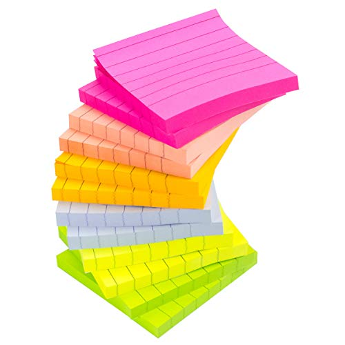 12 Pads/Packs Lined Sticky Notes, 3 x 3 inch, 80 Sheets/Pad, Neon Paper & Assorted Colors, Self-Stick Note Pads, Easy Post Notes for Study, Works, Office (12)