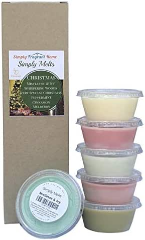 Scented Wax Melts Variety Pack - Hand Poured Natural Soy Wax Melt Cups, 6 Resealable Cups (2.2 Ounces Each, 13.2 Ounces Total), Up to 40 Hours of Scent Throw Per Quarter Cup (Christmas)