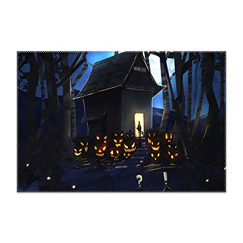 SWEETSTO Halloween Drawing Place Mats, Washable Fabric Placemats for Dining Room Kitchen Table -