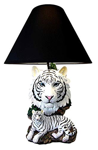 Ebros White Rare Alaskan Tiger Desktop Table Lamp Statue With Black Fabric Shade Siberian Albino Tiger Home Decor Lighting Accessory As Jungle Forest Large Cats Tigers Decorative Themed Decor