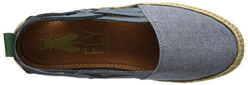 FLY London Eeka - Sky Blue Cord Canvas/Leather (Textile) Womens Pumps ReZ2xBh