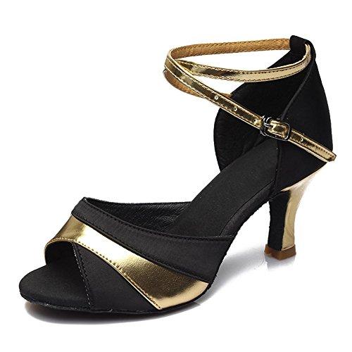 Latino Baile de Gold Mujer 806 de Salón Satén HROYL Zapatos Baile xPIOwxA