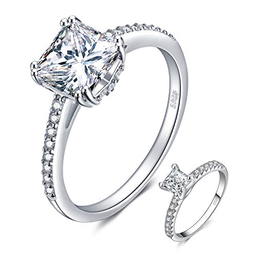 - JewelryPalace 1.5ct Princess Cut Cubic Zirconia Anniversary Promise Solitaire Engagement Ring 925 Sterling Silver Size 6
