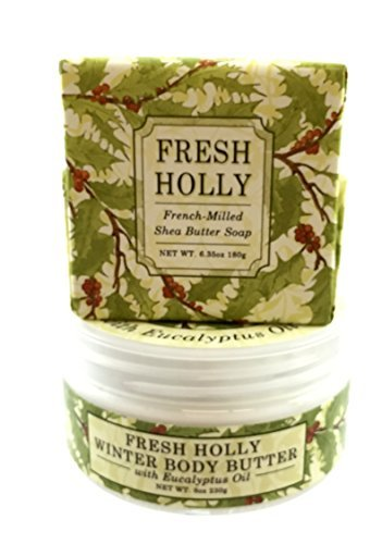 Greenwich Bay FRESH HOLLY Christmas, Thanksgiving, Holiday Scents, Triple Milled Soap and Body Butter Gift Set
