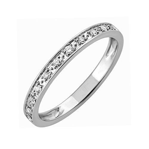 10k White Gold Diamond Wedding/anniversary Ring Band (0.10 Carat) (Size 6) (Diamond Ring Jewelry Anniversary Gold)