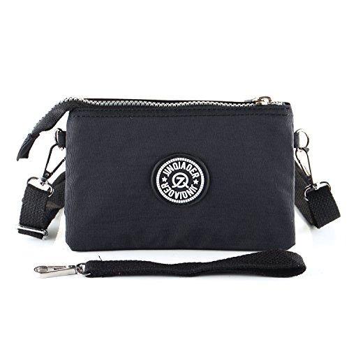 Ladies Wrist Handbag Wristlet Shoulder Bag Girls Water Resistant Nylon Multipurpose Phone Purse 3 Layers 2 Way(Black) (Multi Purpose 2 Way)