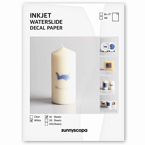 """Sunnyscopa Waterslide Decal Paper for INKJET Printer - WHITE, US LETTER SIZE 8.5""""X11"""", 10 SHEETS - Personalized Water Slide Transfer - DIY Custom Printable Water-Slide Decals"""