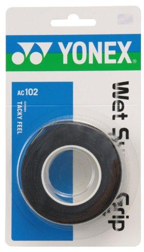요넥스 (YONEX) 테니스 배드민턴 그립 테이프 웨트(wet) 슈퍼 그립 (3개들이) AC102 블랙