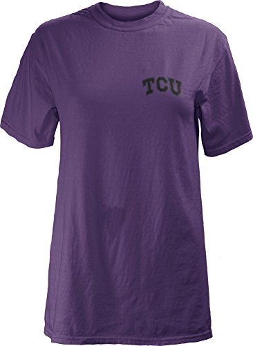 Washed T-shirt Garment Sleeve Short (Three Square by Royce Apparel NCAA TCU Horned Frogs Legacy Short Sleeve Garment Washed T-Shirt, Small, Purple)