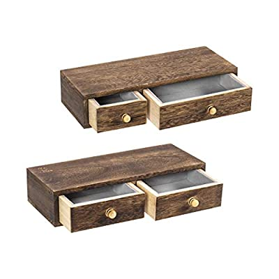 Y&ME YM Floating Shelf with Drawer Wall Mounted, Set of 2 Rustic Wood Wall Floating Shelves for Storage and Display 12 x 5 x 2.6 inch (Brown) - [Simple and Suitable]: Our wall display shelves simply designed with solid Paulownia wood, the floating shelf with drawer not only can help you free-up home space for store keys, DVDs, phone notepads, pens, and other knick-knacks,but also perfect for utilizing your walls efficiently, free up more floor space [Floating Shelf with Drawer]: This floating shelf features a hidden drawer adds a rustic, elegant touch to any room while adding functional storage space. Our individual hanging drawers offer a beautiful and functional place to display and store all household items [Multipurpose Floating Shelves]: Multi use as a nightstand or bedside shelf,mount your shelf in the bedroom, kitchen, bathroom, living room, study, nursery or entryway . Storage and display for stylishly flaunt books, plants, spices, electronics or even cosmetics - wall-shelves, living-room-furniture, living-room - 41dQ8czGQAL. SS400  -