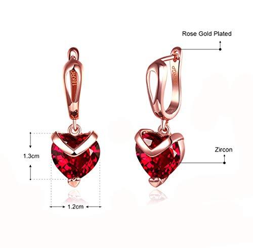 Jewelry Earrings Heart Drop (BlingSoul Rose Gold Earrings for Women - Red Heart Dangle Drop Earring Jewelry Merchandise Gift)