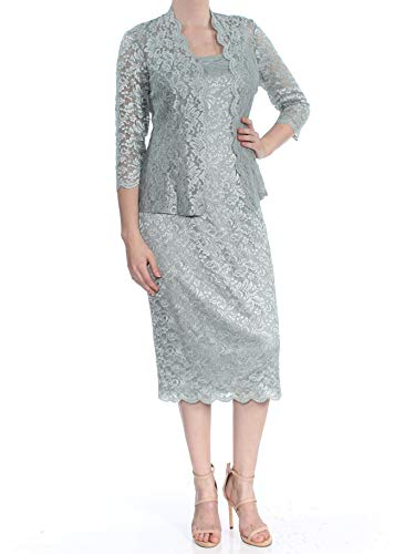 Alex Evenings Women's 8 Tea Length Dress and Jacket (Petite and Regular Sizes), Ice Sage, 8