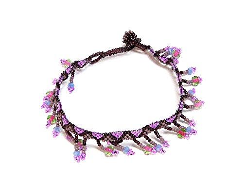 Seed Bead Crystal Fringe Anklet (Purple/Pink/Burgundy)