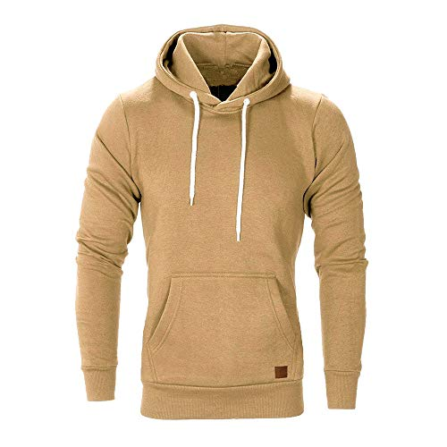 Misaky Men's Hoodies Autumn Winter Fashion Causal Sweatshirt Pullover Tracksuits(Khaki, US M/Tag XL) ()