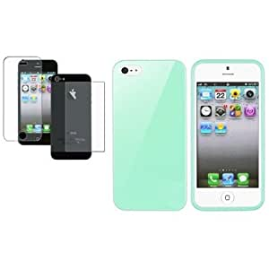 Bloutina CommonByte For iPhone 5 5th 5G Mint Green Jelly TPU Cover Case+2x Anti-Glare Protector