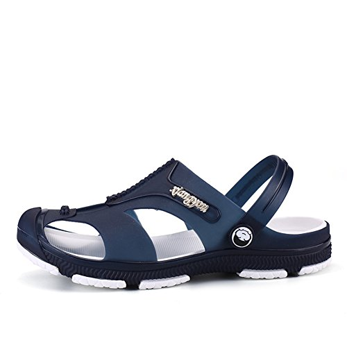 Clogs Shoes Men's Slip On Mule Style Sandals With Moveable Back Strap Black Blue tg0ObxhDP