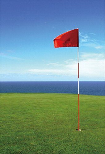 CSFOTO 3x5ft Background for Seaside Golf Course Red Flag Waving Photography Backdrop Green Grassland Sea Ocean Horizon Coast Sport Leisurely Holiday Vacation Photo Studio Props Polyester Wallpaper