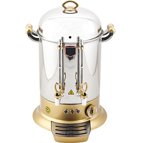 System Urn Brewing - ADJUSTABLE TEMP CONTROL - 160 CUP - GOLD COLOR Double Compartment Commercial industrial Hotel Cafe Restaurant Catering Hot Water Tea Coffee Maker Brewer Brewing Machine Percolator Urn Dispenser 220V