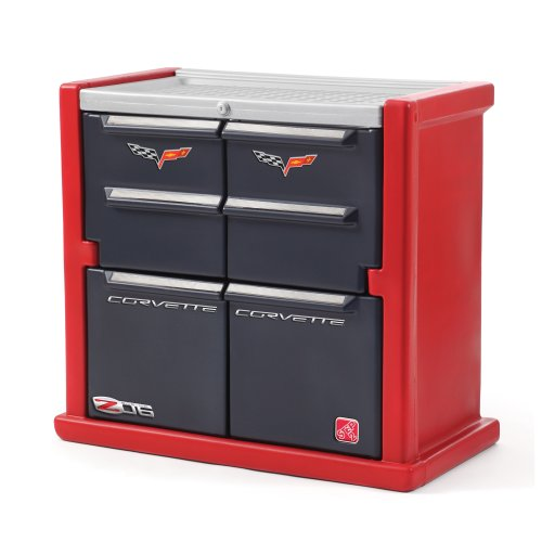 (Step2 Corvette Dresser for Kids - Durable 4 Drawer Cabinet Organizer, Red/Black/Silver)
