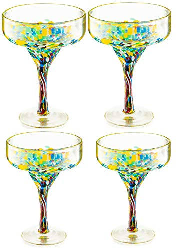 Mexican Design Hand Blown Margarita Glass – Set of 4 Luxury Hand Blown Confetti Margarita Glasses 4.5 x 4.5 x 6″ (16 oz) by The Wine Savant