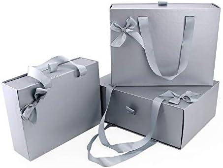 VEESUN Cajas de Regalo, 3pcs Grandes Cajón Cartón Bolsas de Regalo Caja de Papel Kraft con Manejar, Papel de Regalo para Aniversario Boda Fiesta ...