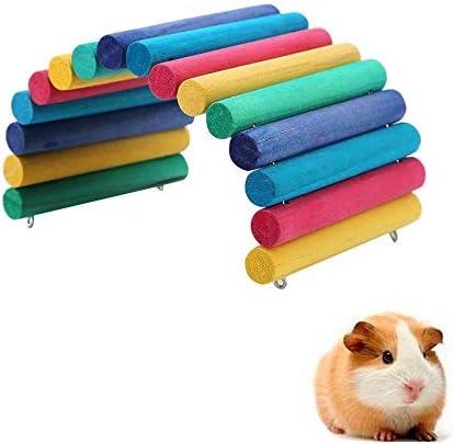 YGHH Dierenbrug Muis Knaagdierspeelgoed Ladderbrug Buigbare Mini Houten Huisdier Boogbrug voor Hamster Rat Kleine Cavia Andere Vergelijkbare Grootte Huisdieren Verbergen Spelen Kleurrijk