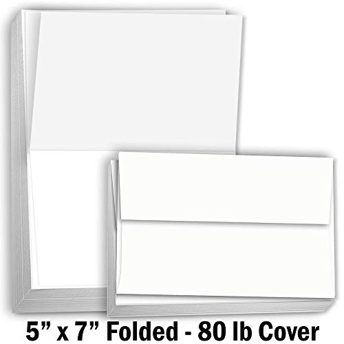 (Hamilco Card Stock Folded Blank Cards with Envelopes 5x7 - Scored White Cardstock Paper 80lb Cover - 100)