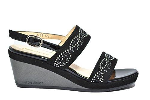 Melluso Sandali zeppa nero scarpe donna R7622