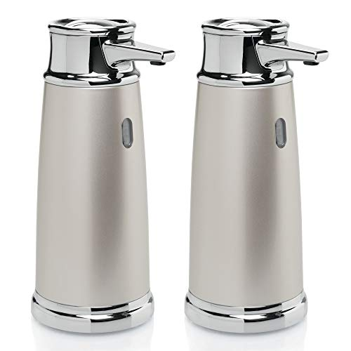 mDesign Decorative Hands Free, Automatic Liquid Hand Soap Dispenser Pump with Infrared Motion Detector Activated Sensor Light for Kitchen and Bathroom Sinks, Countertops - 2 Pack - Satin/Chrome