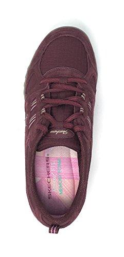 Skechers Sport Frauen atmen einfach viel Glück Fashion Sneaker Burgunder Wildleder / Mesh / Pink / Taupe Trim