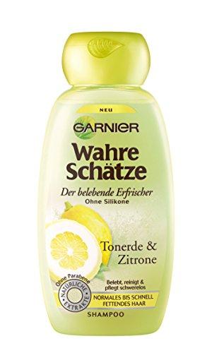 Garnier Wahre Schätze Shampoo / Intensive Haarpflege bis in die Spitzen (mit Tonerde & Zitrone - für normales bis schnell fettendes Haar - ohne Parabene - ohne Silikone) 1 x 250ml
