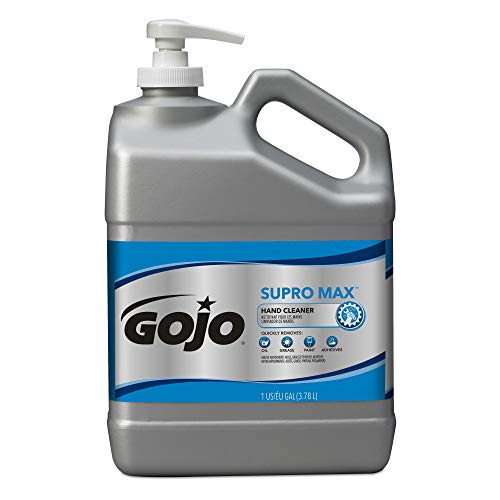GOJO SUPRO MAX Hand Cleaner, 1 Gallon Heavy-Duty Hand Cleaner with Scrubbers Pump Bottles (Pack of 2) – 0979-02 by Gojo (Image #1)