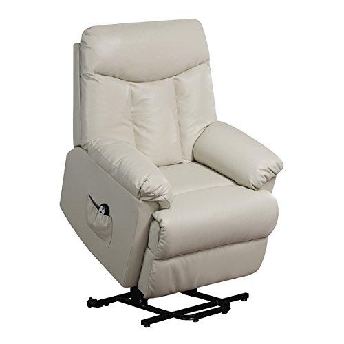 ProLounger Lya Cream Renu Leather Power Recline and Lift Wall Hugger Chair, Heavy Duty Steel Reclining Mechanism