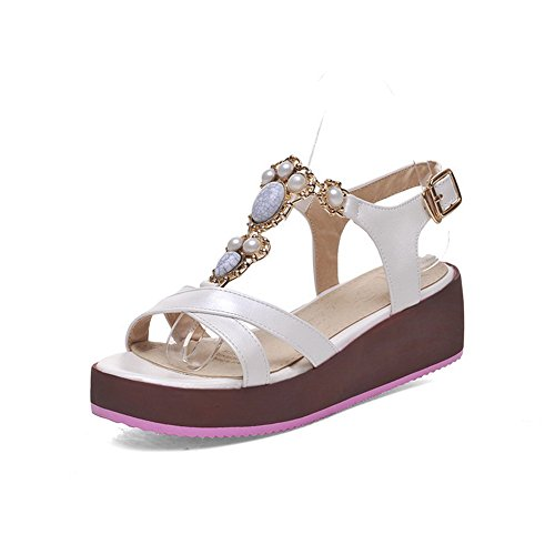 Amoonyfashion Womens Open-teen Gesp Pu Solid Kitten-hakken Sandalen Wit