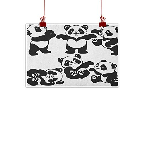 Wall Painting Prints Nursery,Set with Playful Panda Bear in Monochrome Style Happy Young Zoo Animal Childhood, Black White 48