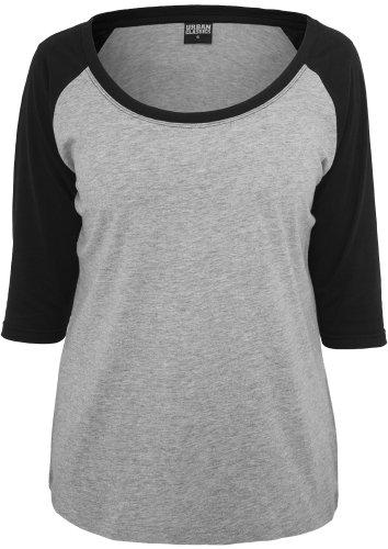 Urban Classics TB733 Ladies 3-4 Contrast Raglan Tee Regular Fit Woman XL Grey Black Grigio Nero