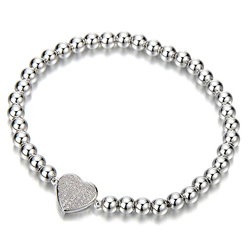 Link Charm Bracelet for Women Girls with Cubic Zirconia Heart Charm by COOLSTEELANDBEYOND